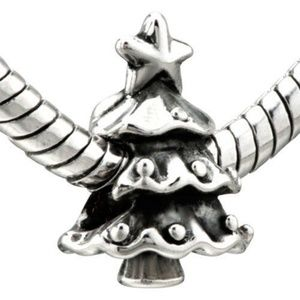 Pugster Christmas tree Silver Charm Bead New